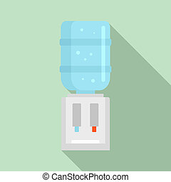 Water cooling dispenser icon, flat style