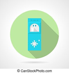 Water cooling system flat round vector icon