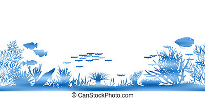 Editable vector illustration of watery coral and fish made by masking a background color mesh