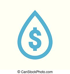 Water cost and save icon. Blue dollar symbol in water drop sign
