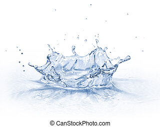 Water crown splash, isolated on white background.