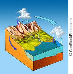 Water cycle diagram. Digital illustration.
