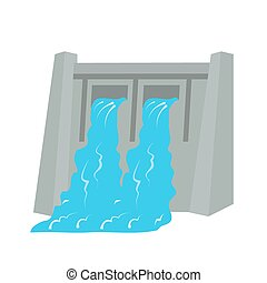 Water Dam - Dam, water, hydro electric icon vector image....