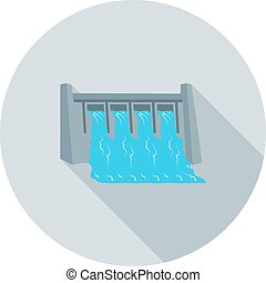 Water Dam - Dam, water, hydro icon vector image.Can also be...