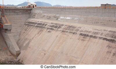 Water Dam Flood Gates Pan - High panning shot of the dry...