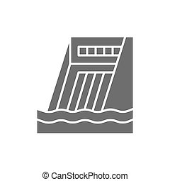 Water dam, hydro power plant, hydroelectric station gray icon.