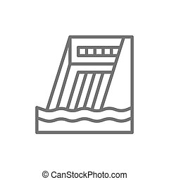 Water dam, hydro power plant, hydroelectric station line icon.