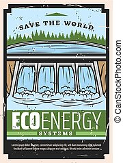 Water dam of hydro power plant, eco energy