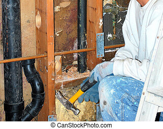 Water damage. - Water damage in the walls.