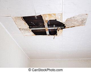 Water damaged ceiling . - Ceiling panels damaged huge hole...