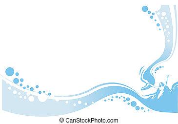 water, dame, illustratie