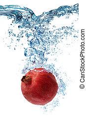 water, deeply, granaatappel, dalingen, onder