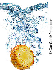 water, deeply, onder, ananas, dalingen
