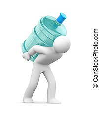 Water delivery. 3d person carrying a water bottle
