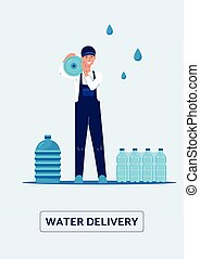 Water delivery card with delivery man holding bottle, flat ...