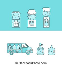 Water delivery collections - Set of thin vector line icons...