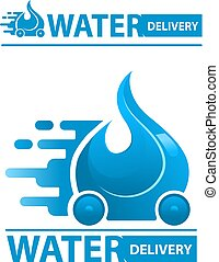 Water delivery icon in 2 different version, flat small and...