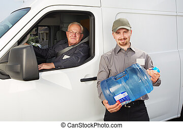 Water delivery service man with bottle.