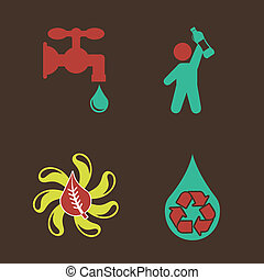 water design over  brown background vector illustration