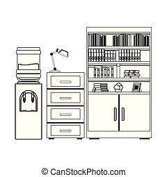 water dispenser, file cabinet and bookshelf black and white