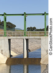 Almost finished sluice gate in the water diversion canal upstream the Alvito reservoir near Oriola village, part of the Alqueva Irrigation Plan, Alentejo, Portugal