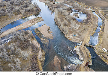 water diversion on SOuth Platte River in Colorado, aerial view