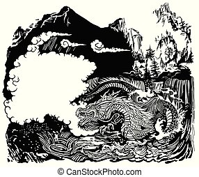 water dragon in the landscape black white