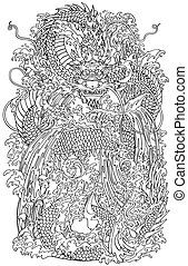 Japanese water dragon a traditional mythological deity creature in the sea or river splashes. Outline vector illustration. Coloring page