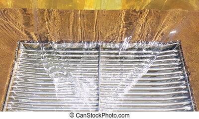 Water draining waterfall pool sanitation - Water draining...