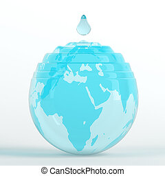 Water dripping on earth globe