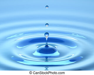 Water drop. Abstract blue background.