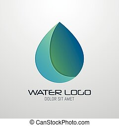 Water drop abstract vector logo design template