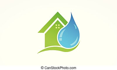 Water drop and house real estate logo