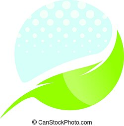 Water drop and leaf abstract vector logo design.
