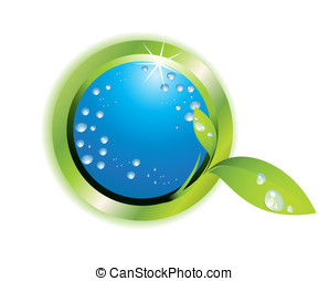 Water drop and leaf - Lefaf, water, water drop and green...