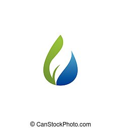water drop and leaf logo vector