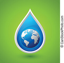 Water drop and planet Earth icon - Blue glossy water drop...