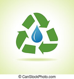 Water drop and recycle icon