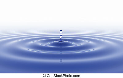 Water drop and white background - blue water drop and white...