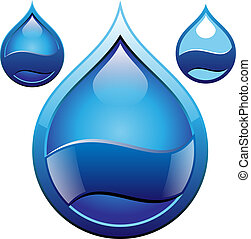 water drop badge vector illustration