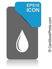 Water drop black and blue vector pointer icon on white background in eps 10