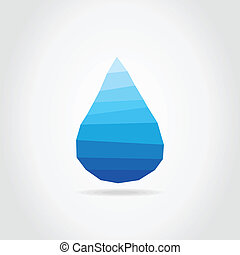 Water drop - Blue drop of water on a grey background