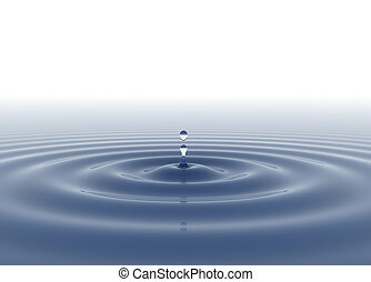 Water drop blue on white background