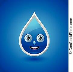 Water drop character - Cute water drop character isolated on...
