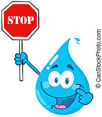 Water Drop Character Holding A Stop