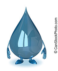Water drop character isolated on white background