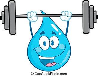 Water Drop Character Lifting Weights