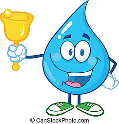 Water Drop Character Waving A Bell
