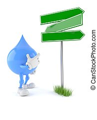 Water drop character with blank signpost isolated on white...