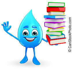 Water Drop Character with Books pile - Cartoon Character Of...